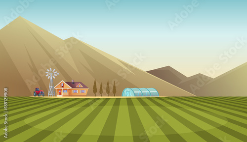 Farm and countryside landscape on mountain background. Vector cartoon illustration