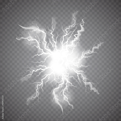 Valokuva  Realistic Ball lightning, plasma sphere, electric discharge set vector abstract