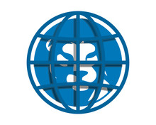 Blue Globe Lion Head Silhouette Image Vector Icon Logo