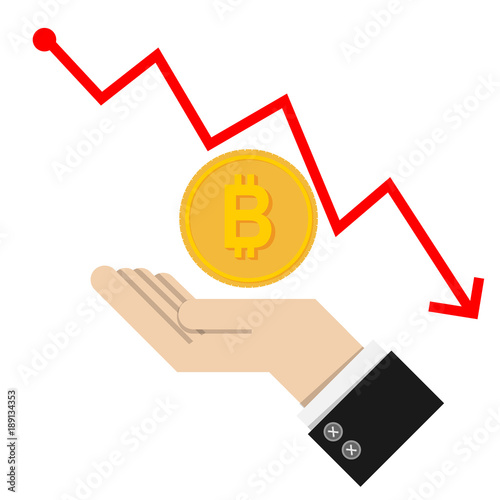 Concept With Golden Bitcoins Ladder On Red Graph Chart Background Isolated White Trade Finance Exchange Rate Fluctuation