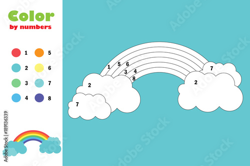 Colorful rainbow, color by number, education paper game for the ...