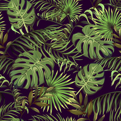 Fototapetaseamless pattern with tropical leaves