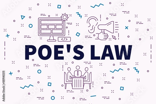 Conceptual business illustration with the words poe's law Canvas Print
