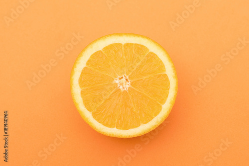 Photo Stands Slices of fruit Orange slice isolated on orange background.