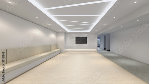 Canvas Print Modern Empty Room, 3D render interior design, mock up illustration