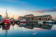 canvas print picture - Fischereihafen in Heiligenhafen an der Ostsee