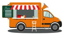 Orange Food Truck Side View Menu Coffee White Chair Poster
