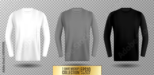 фотография  Three shades of white, gray and black long sleeve t-shirt