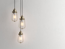 Three Vintage Lamps Hanging Fr...