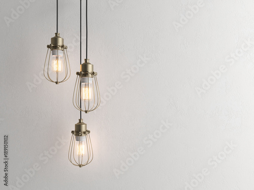 Photo  Three vintage lamps hanging from the ceiling with wall 3D renderind