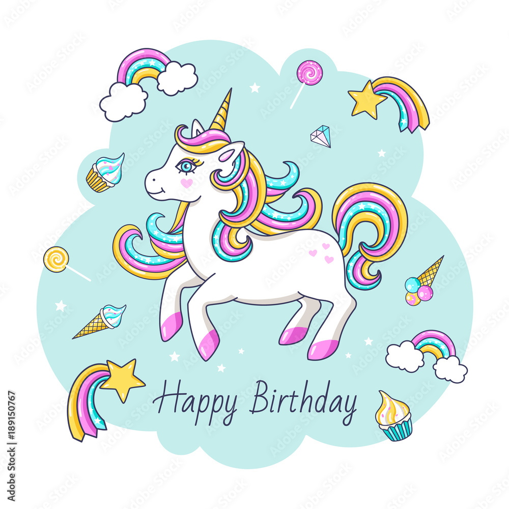 Fotografie Obraz Happy Birthday Card With Cute Unicorn Vector