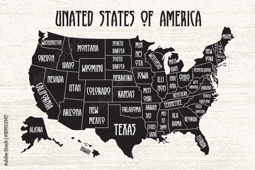 Poster map of United States of America with state names ...