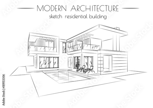 The Modern Architecture Sketch Of Houses On A White