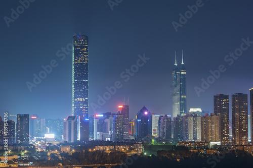 Skyline of Shenzhen City, China at twilight Poster