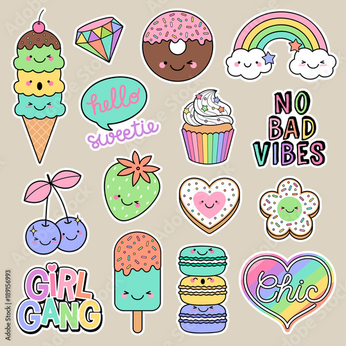 Photo  Set of girl fashion patches, cute cartoon badges, fun stickers desserts vector, positive thinking words design