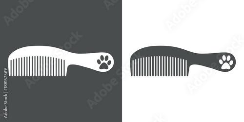 Vászonkép Icono plano peine con mango y huella de gato gris y blanco
