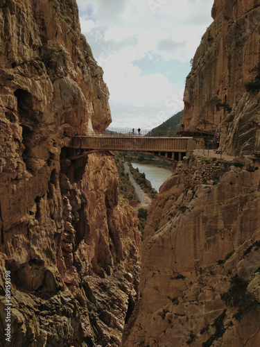 Wide angle view of 'El Caminito del Rey' King's Little Path footpath, one of the most Dangerous in the world, reopened in 2015 Canvas Print