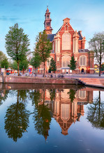 Amsterdam Canals - Westerkerk Church, Netherlands, Holland, Europe
