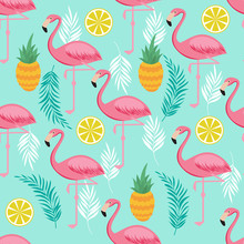Pink Flamingo, Pineapples And Exotic Leaves Vector Seamless Pattern
