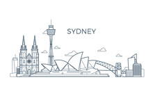 Sydney City Line Skyline With Buildings And Architecture Showplaces. Australia World Travel Vector Landmark