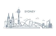 Sydney City Line Skyline With ...