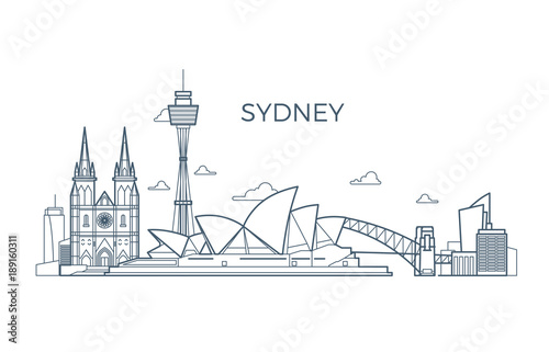 Sydney city line skyline with buildings and architecture showplaces Wallpaper Mural