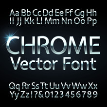 Chrome, Steel Or Silver Letters And Numbers Vector Alphabet. Metallic Typeface, Font