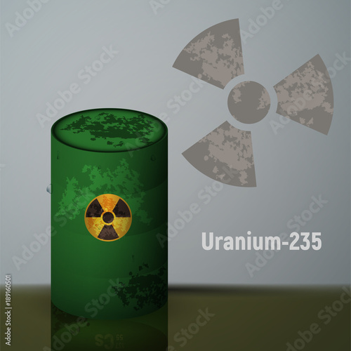 Plakat  Radioactive uranium in the green barrels