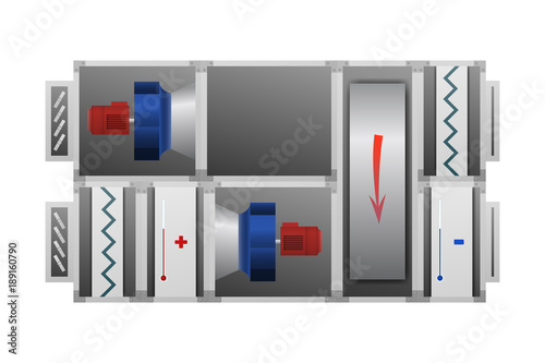 Air handling unit with Thermal Wheel vector illustration Wallpaper Mural