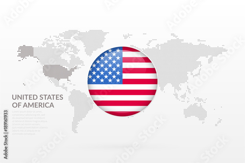 united states of america glossy flag icon vector world map infographic symbol international global