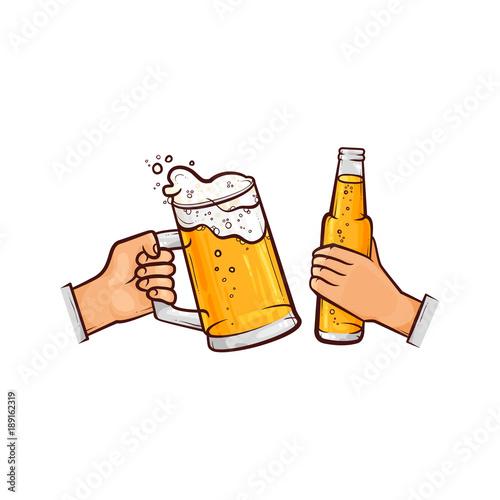 vector cartoon man hands holding full mug of golden lager cool beer