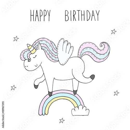 Cute Unicorn Print For Kids Happy Birthday Card