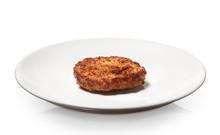 Hamburger On Plate Isolated On...