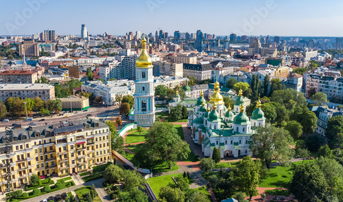 Tuinposter Kiev Aerial top view of St Sophia cathedral and Kiev city skyline from above, Kyiv cityscape, capital of Ukraine