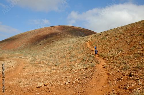 Way to the crater of Vulcan Calderon Hondo, Fuerteventura.