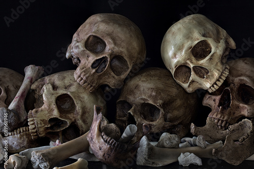 Pile of skulls and bones on black background Fototapet