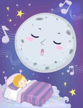 Kid Boy Sleep Mascot Moon Lull...