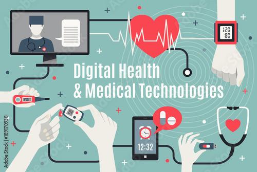 Valokuva  Digital Healthcare Technology Flat Poster