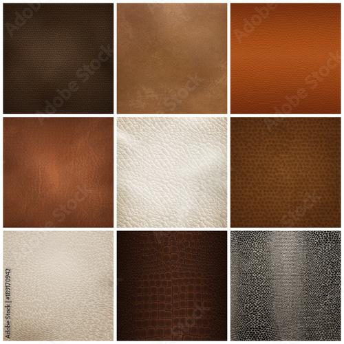 Fotografiet  Leather Texture Samples Realistic Set
