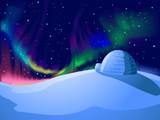 Igloo Aurora Borealis Background Illustration