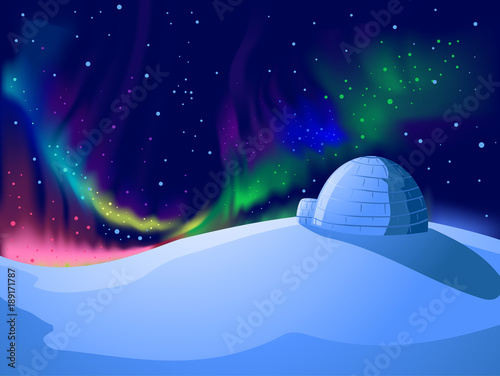 Igloo Aurora Borealis Background Illustration