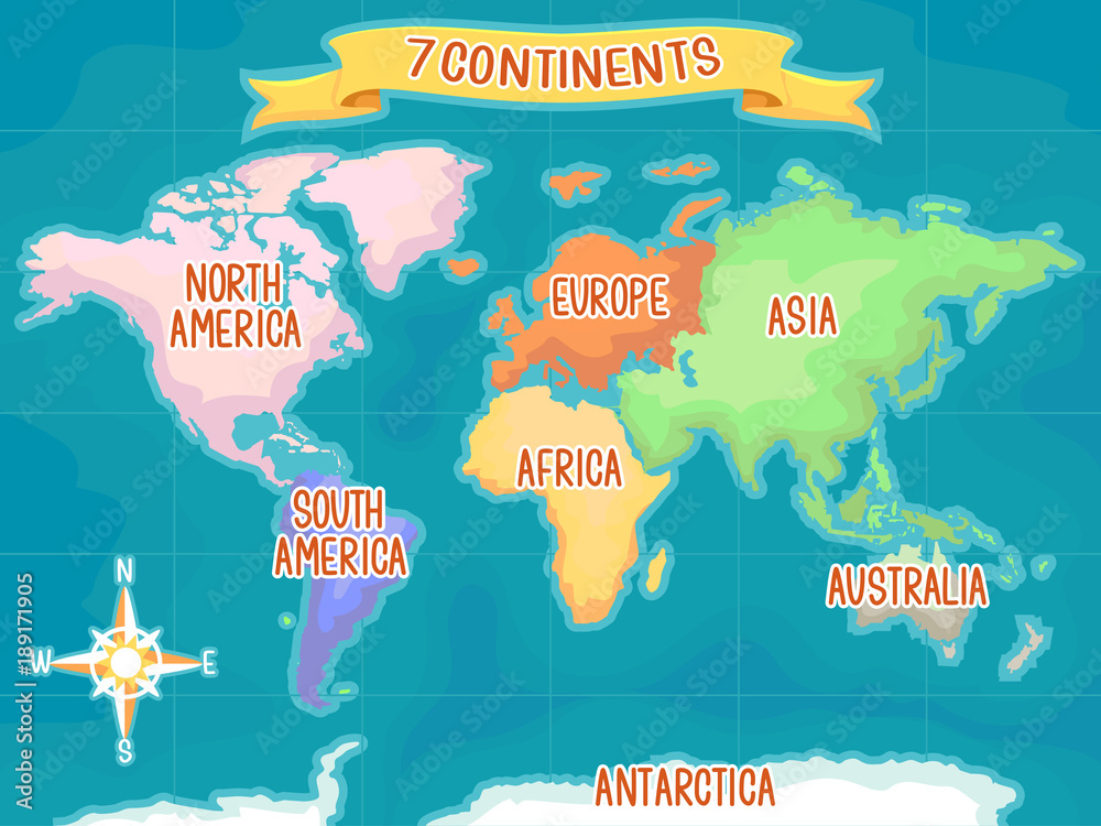 Fototapety, obrazy: Geography Seven Continents Illustration