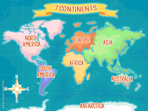 Fotografie, Tablou  Geography Seven Continents Illustration