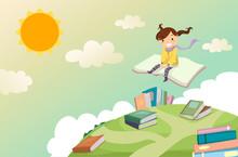 Stickman Kid Girl Book Ride Illustration