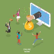 Online Income Flat Isometric V...