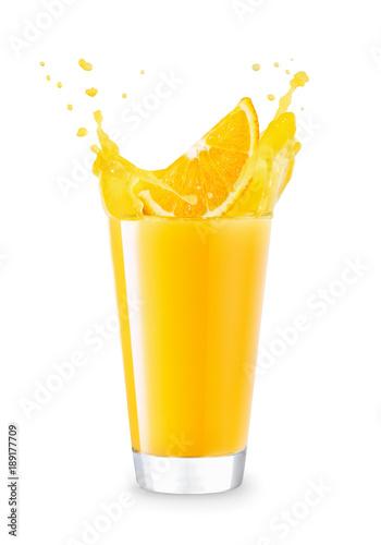Foto op Aluminium Opspattend water glass of splashing orange juice