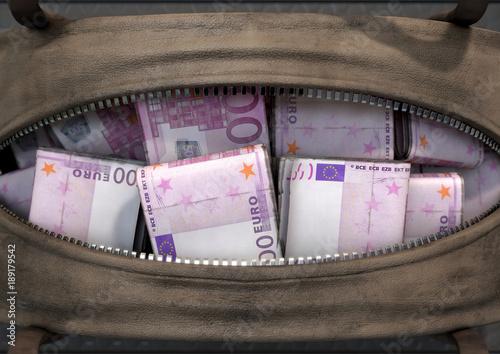 Illicit Cash In A Brown Duffel Bag Canvas Print