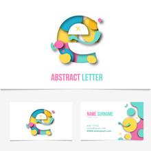 Paper Cut Letter E .Realistic ...