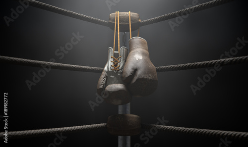 Valokuva  Vintage Boxing  Corner And Hung Up Gloves