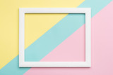 Abstract pastel colored paper texture minimalism background. Minimal geometric shapes and lines composition with empty picture frame. - 189183146